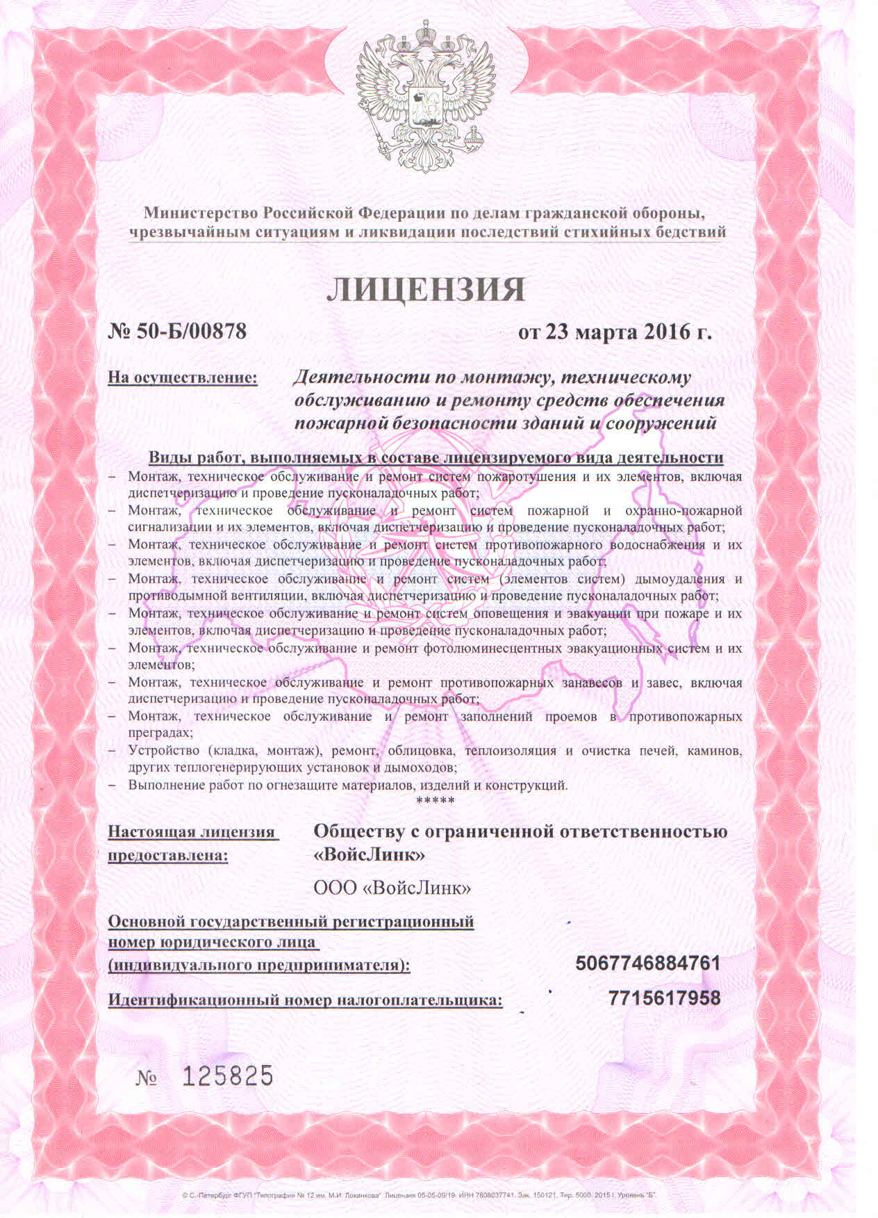 License of Russia's Emergency Ministry